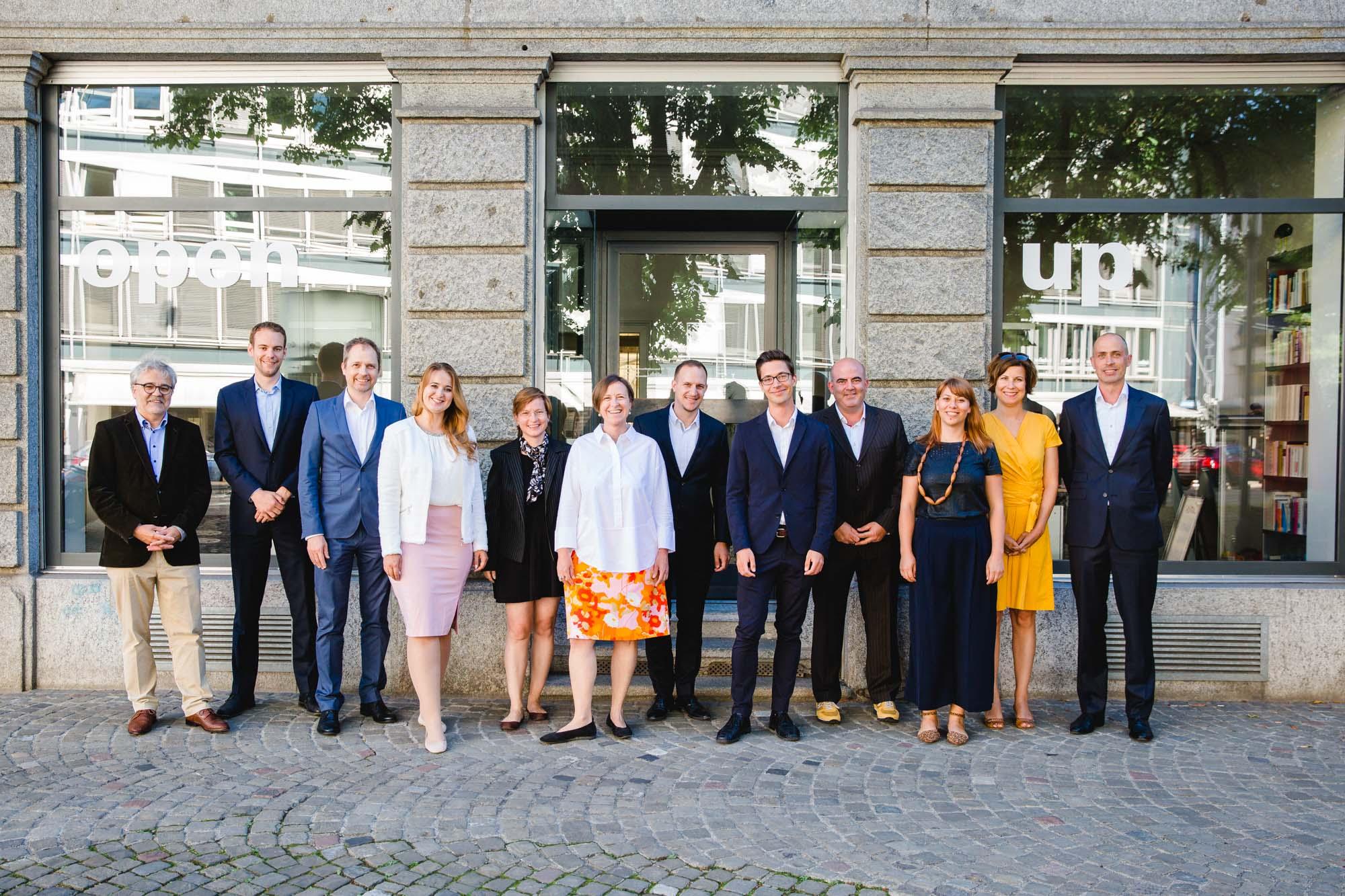 The open up Team: Urs Thaler, Mario Schuler, Patrick Preuss, Ramilya Iftodi, Nicole Merkel, Melanie Schneider, Lukas Mettler, Robert Reinecke, Diego